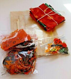 Junk Journal Supplies Vintage Paper Kit Scrapbook Halloween Fabric lace K2