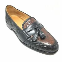 Men's Zelli Loafers Dress Shoe Size 9.5 M Black Woven Brown Crocodile Tassels J7