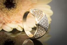 Schmuck Brillantring Ring mit Brillanten dreieckige Elemente 585er Gold Bicolor