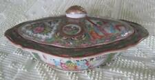 """19th Century Rose Medallion 11"""" Covered Oval Serving Bowl"""