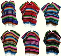 Uni-Sex Adult One Size Multi-Color Mexican Zarape Serape Poncho Folklorico NWOT
