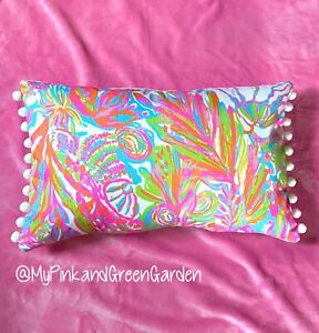 New throw pillow made with LILLY PULITZER Scuba To Cuba With WHITE Poms