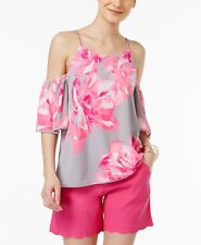 """INC"" GRAY & PINK FLORAL BOTANICAL PLACE COLD SHOULDER BLOUSE TOP SIZE: XL NWT"