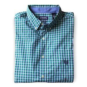 Chaps Easy Care Men's XL Plaid Long Sleeve Button Down Shirt Green Blue NEW