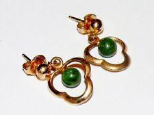 Vtg 14K Gold Trefoil Clover Club Shape Jade Stone Dangle Pierced Earrings 2.26 G