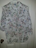 NEW XL Eden & Olivia Anthropologie DOODLE Floral Print Tunic Shirt 3/4 Tab Slv
