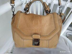 Clarks beige thick leather shoulder messenger cross body satchel bag