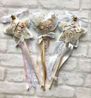 Personalised Flower Girl Wedding Wand Vintage/rustic