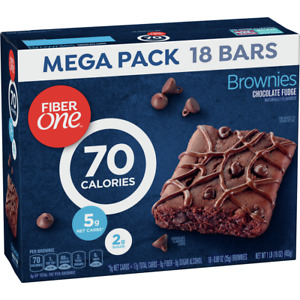 Fiber One Brownies Chocolate Fudge 70 Calorie Bar 5 Net Carbs Snacks 18 Count