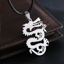 Men's Unisex Stainless Steel Leather Necklace Pendant Dragon L18
