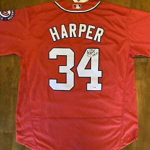 Bryce Harper Signed Autographed Nationals Jersey PSA COA Phillies