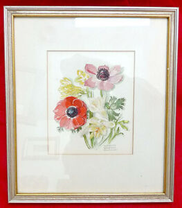 ELIZABETH LANSDELL HAMMELL ORIGINAL WATERCOLOR PAINTING FLOWERS