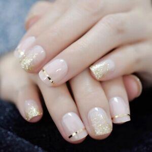 False nails UV Gel Square French Gold Glitter 24pk + nail tabs by EchiQ