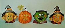 Lot/4 Metal Hallowen Scarecrow-Pumpkin-Frankenstein Tea Light Candle Holders