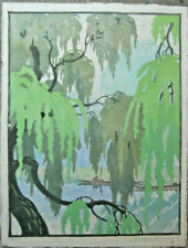 Wilfred Rene Wood 'Willows Cambridge' Signed Woodcut Print 22/60 Cica 1930s