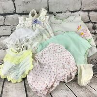 Vintage Baby Doll Clothes Cute 7Pc Lot Dress Jumper 2 Bloomers Bib Hat & Socks