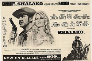 A5 Advert Shalako Sean Connery Brigitte Bardot Honor Blackman Stephen Boyd