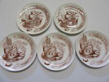 """5 assiettes à dessert de GIEN avec le thèmes """" les desserts """", diamètre 18,5 cm"""
