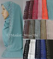 Premium Quality Chiffon Silver Rhinestones Hijab Shawl Scarf Muslim  Headcover