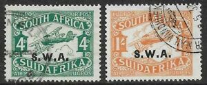South West Africa 1930 Air Mail Set (T11 overprint) SG72/73 Used/Mounted