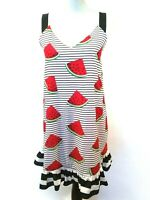 Pink Culture Womens Watermelon Striped Sleeveless Ruffle Hem Dress Size Small
