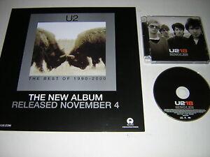 """ORIGINAL U2 CD ALBUM - U2-18 SINGLES - PLUS 2 PROMOTIONAL 12""""X12"""" CARDS"""