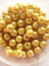 8mm Glass Faux Pearls - Pale Gold (50 Beads) Jewellery Making