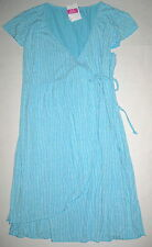 FRESH PRODUCE Large Malibu Ice Blue C'est La V Cafe Wrap Dress $85 NWT New L