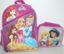 "DISNEY PRINCESS SCHOOL BAG BACKPACK W DETACHABLE LUNCH BOX TOOL KIT 16"" +EXTRA"