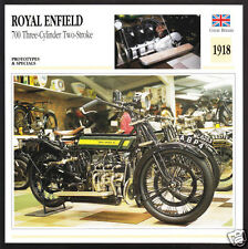 1918 Royal Enfield 700 3-Cylinder 2-Stroke 675cc Motorcycle Photo Spec Info Card