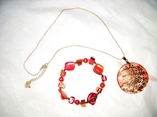 Pendant Necklace And Pink Shell Stretch Bracelet 2 New Rose Pink & Gold Shell