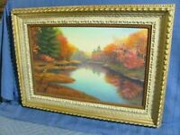 Vintage Oil Painting Brilliant Fall Foliage Landscape Around Stream 1960's