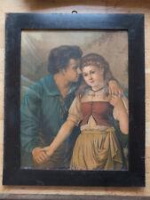 Junges Paar - alter Druck in Biedermeier Rahmen