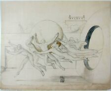 EDGAR ENDE - 1931 Hand Signed Original Pencil and Watercolor Surrealist Drawing