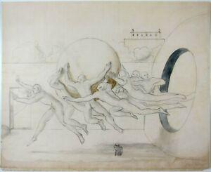 EDGAR ENDE - 1931 Hand Signed Original Pencil and Watercolor Surrealist Drawing