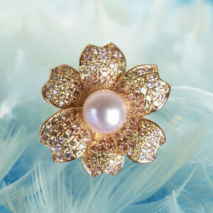 Luxury 8~8.5mm White Freshwater Pearl Gold Brooch/pendant 53A