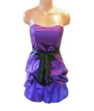 Beautiful Purple & Black Satin Wishes Strapless Sweetheart Party Dress 5 Small