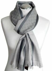 GUCCI men scarf shawl GG Guccissima 35x180 cm 100% wool gray
