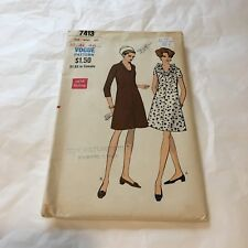 "Vtg Vogue 7413 Pattern 1960""s One piece Dress Bust 40 Hip 42"