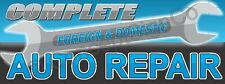 2x5 Complete Auto Repair Banner Sign Foreign Domestic Vehicle Car Shop Blue