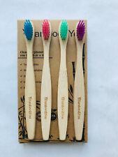 Kids Children's Bamboo Toothbrush 4 Pack Multi-Coloured Vegan Same Day Dispatch!