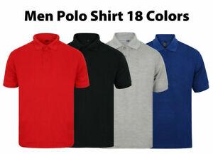 Mens Polo Shirts Short Sleeve Plain Top Designer Style Fit T Shirt Small - 5XL