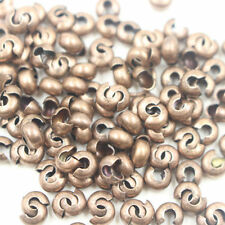 100Pcs 4MM End Crimp Beads Knot Covers Jewelry Finding Craft Gold/Silver/Bronze