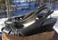 "Naturalizer Women's ""Florrie"" Black Slingback Open Toe Heel Sandal Size 8.5M US"