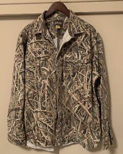 Cabela's Button Front Duck Hunting Camo Shirt Heavy Cotton/Poly Men's Size XL
