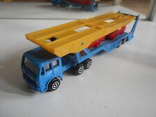 Majorette Mercedes Truck + Car Transport Trailer in Blue/Yellow