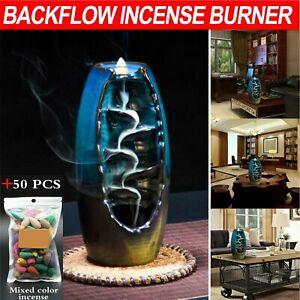 Ceramic Backflow Incense Cone Burner Holder Glaze Waterfallfy & 50 Cones Gift