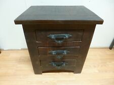 New Rustica Dark Reclaimed Hardwood 3 Drawer Bedside Chest *Furniture Store*
