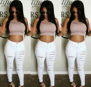 Womens Ripped Knee Cut Jeans Slim Fit Legging Ladies Skinny Denim Sizes 8-16