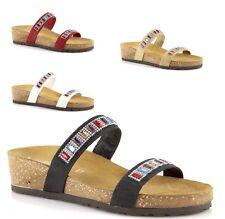 Zapatos Sandalias de Mujer Con Cuña Bajo Verano Cómodo Pedrería Piel Italiano